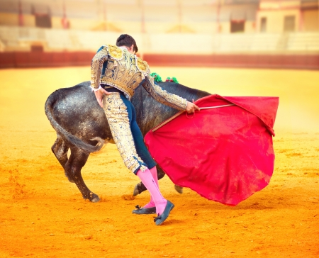 Corrida  Matador Fighting in a typical Spanish Bullfight