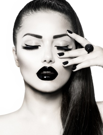 Black and White Brunette Girl Portrait  Trendy Caviar Manicure