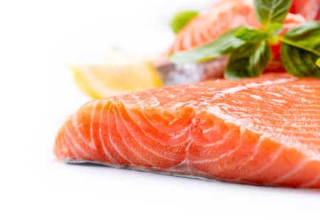 Salmon Raw Fillet  Red Fish isolated on a White Background