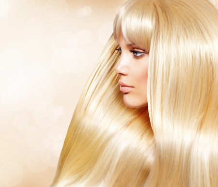 Blond Hair  Fashion Girl With Healthy Long Smooth Hair 	Blond Hair  Fashion Girl With Healthy Long Smooth Hair