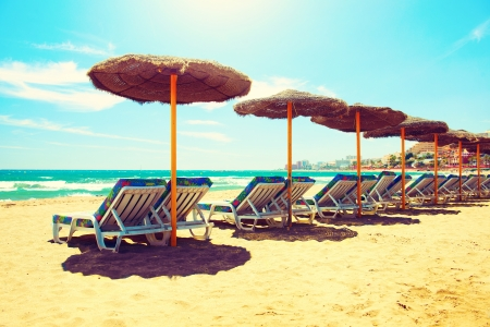 Photo pour Vacation Concept  Spain  Beach Costa del Sol  Mediterranean Sea - image libre de droit