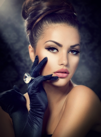 Beauty Fashion Girl Portrait  Vintage Style Girl Wearing Gloves