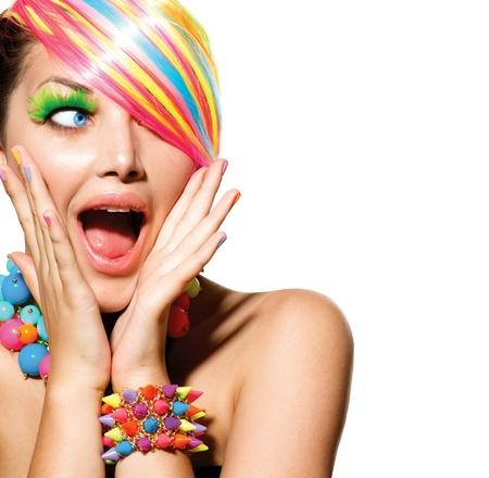 Foto de Beauty Girl Portrait with Colorful Makeup, Hair and Accessories  - Imagen libre de derechos