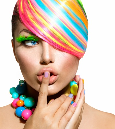 Foto per Beauty Girl Portrait with Colorful Makeup, Hair and Accessories  - Immagine Royalty Free