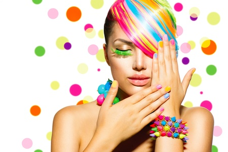 Photo for Beauty Girl Portrait with Colorful Makeup, Hair and Accessories  - Royalty Free Image