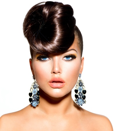 Fashion Model Girl Portrait with Blue Eyes  Creative Hairstyle