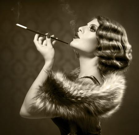 Smoking Retro Woman  Vintage Styled Black and White Photo