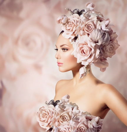 Photo for Fashion Beauty Model Girl with Flowers Hair  Bride  - Royalty Free Image