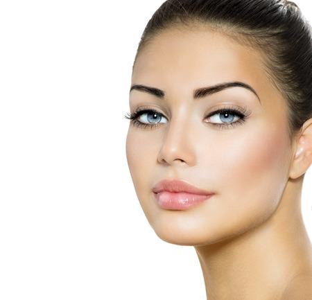 Beauty Woman Portrait  Beautiful Brunette with Blue Eyes