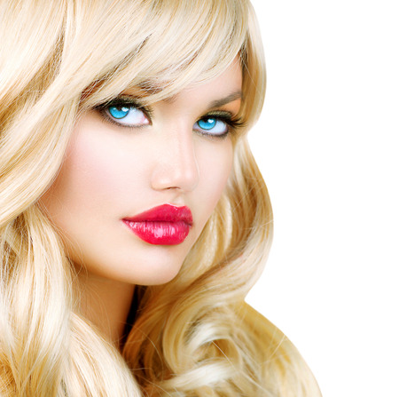 Blonde Woman Portrait  Beautiful Blond Girl with Long Wavy Hair