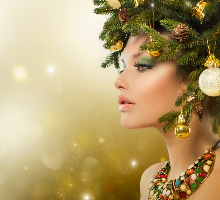 Christmas Woman  Christmas Tree Holiday Hairstyle and Makeup の写真素材
