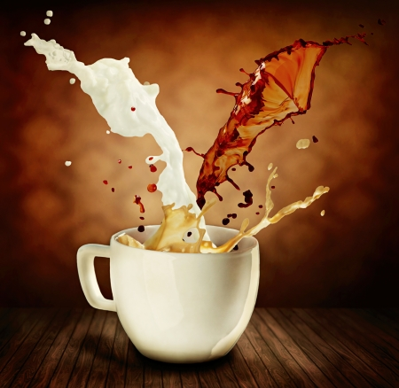Coffee With Milk Splashing  Cup of Cappuccino or Latte