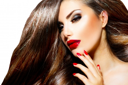 Sexy Beauty Girl with Red Lips and Nails  Provocative Make up