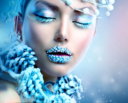 Winter Beauty Woman  Christmas Girl Makeupの写真素材