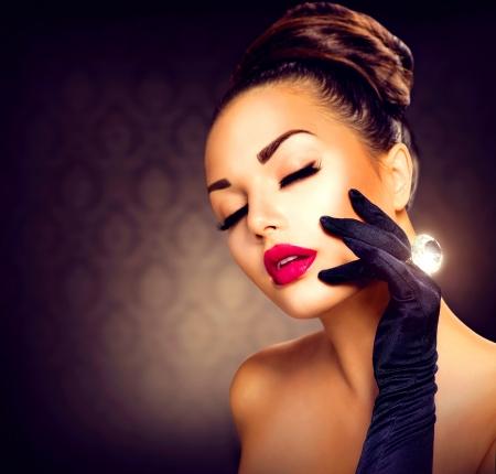 Beauty Fashion Glamour Girl Portrait  Vintage Style Girl