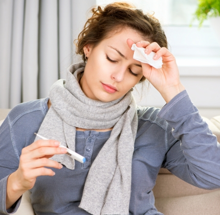 Sick Woman with Thermometer  Headache