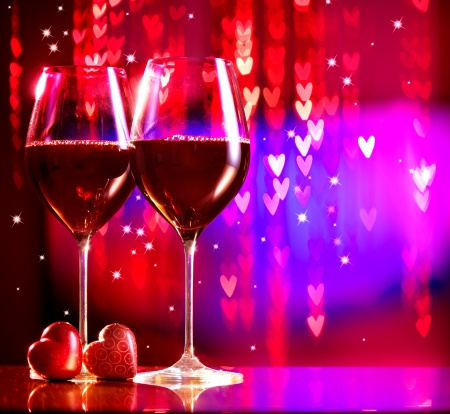 Valentine s Day Celebrating  Two Glasses of Red Wine