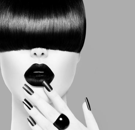 High Fashion Black and White Model Girl Portrait