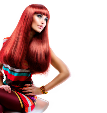 Healthy Straight Long Red Hair  Fashion Beauty Model Girl
