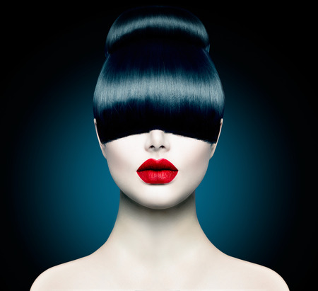 Photo for High Fashion Model Girl Portrait with Trendy Fringe - Royalty Free Image