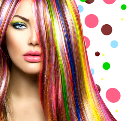 Photo for Colorful Hair and Makeup  Beauty Fashion Model Girl - Royalty Free Image