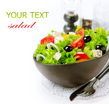 Mediterranean Salad  Greek Salad isolated on a White Background