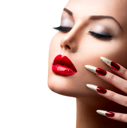 Fashion Beauty Model Girl  Manicure and Make-up