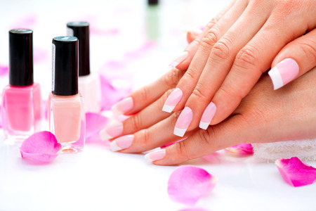 Manicure and Hands Spa  Beautiful Woman Hands Closeupの写真素材