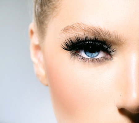 Beauty makeup for blue eyes  Part of beautiful face closeup