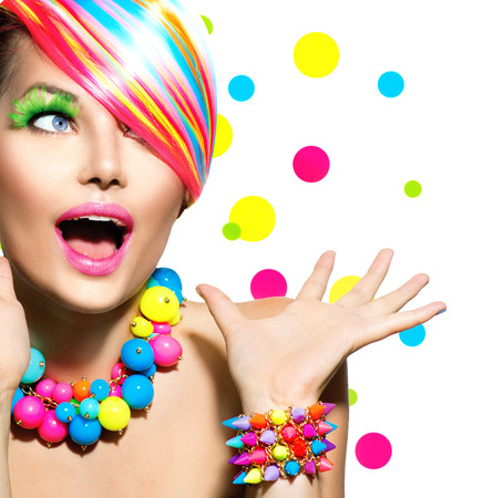 Photo for Beauty Portrait with Colorful Makeup Manicure and Hairstyle - Royalty Free Image