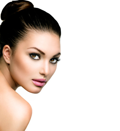 Photo for Beautiful Face of Young Woman with Clean Fresh Skin - Royalty Free Image