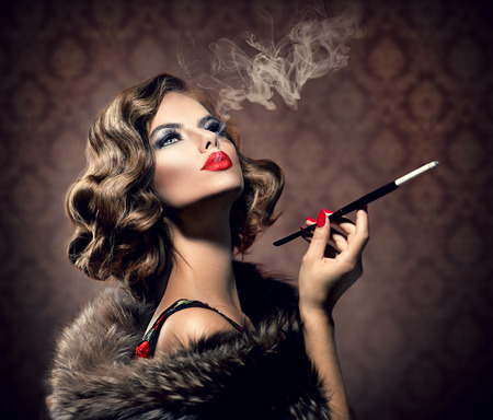 Retro Woman with Mouthpiece  Vintage Styled Beautiful Lady