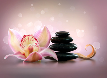 Spa Stones and Orchid Flower. Stone Massageの写真素材