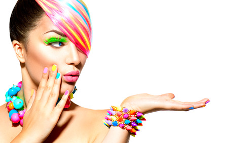 Beauty Woman Portrait with Colorful Makeup, Hair and Accessories