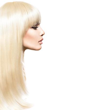 Foto de Blond Hair. Blonde Beauty girl with long smooth shiny hair - Imagen libre de derechos