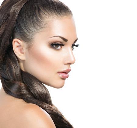 Photo pour Hair Braid. Beautiful Woman with Healthy Long Hair - image libre de droit