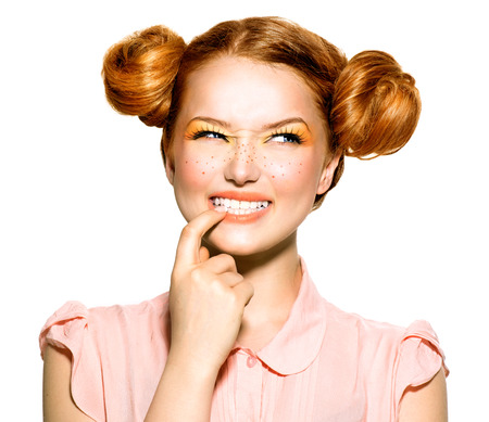 Beauty teenage model girl portrait. Emotions