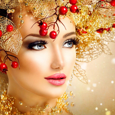 Photo for Christmas fashion model girl with golden hairstyle and makeup - Royalty Free Image