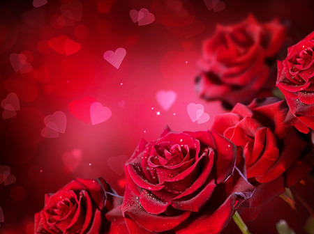 Photo pour Roses and hearts background. Valentine or wedding card design - image libre de droit