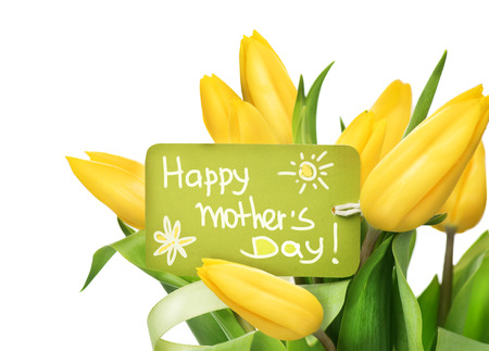 Mother\'s Day yellow tulips flower bunch with greeting card