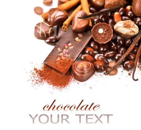 Photo pour Chocolates border isolated on white background. Chocolate - image libre de droit