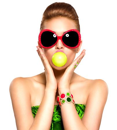 Beauty funny model girl wearing sunglasses