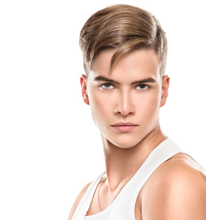 Foto de Handsome young man. Fashion young model man portrait - Imagen libre de derechos