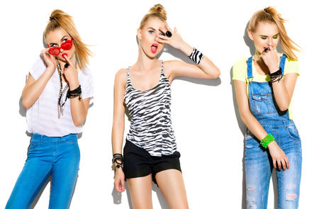 Teenage fashion stylish model girl isolated on white background