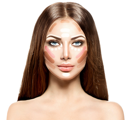 Makeup woman face. Contour and highlight