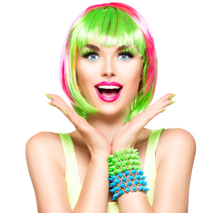 Photo for Surprised beauty fashion model girl with colorful dyed hair - Royalty Free Image