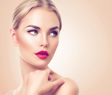 Photo for Beautiful woman portrait. Beauty spa woman with fresh skin and perfect makeup - Royalty Free Image