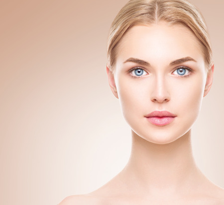 Beauty woman face. Beautiful spa girl with perfect clean skin