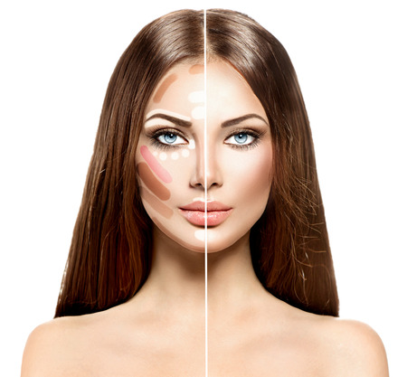 Divided woman face before and after blending Contour and Highlight makeupの写真素材
