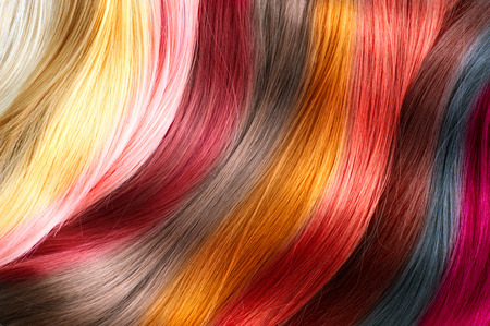 Foto de Hair colors palette. Dyed hair color samples - Imagen libre de derechos